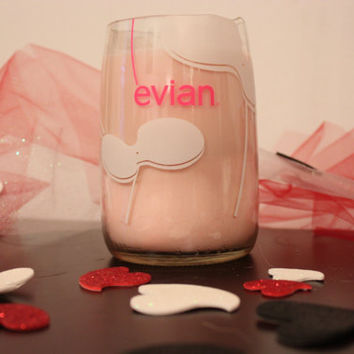 Evian Glass Water Bottle Candle by Frankencandle on Etsy