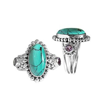 "AR-6099-CO1-7"" Sterling Silver Ring With Turquoise & Amethyst"