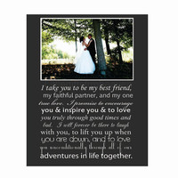 Wedding Vows Print- photo vows print, wedding canvas photo, 1st anniversary gift, song lyrics canvas, bride groom canvas, father daughter