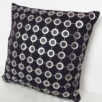 black and silver grey sequins cushions in size 16x16 inches