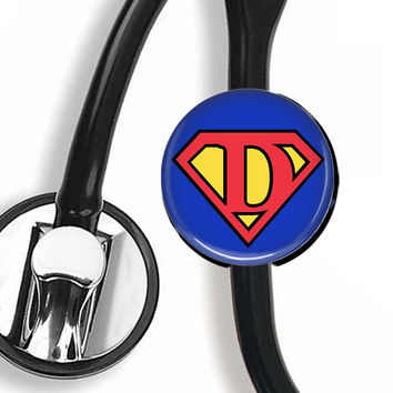 Stethoscope ID Tag, Scope Cover - Superman Letter