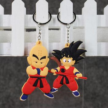 Dragon Ball Monkey Key Chain Son Goku Super Saiyan Silicone PVC