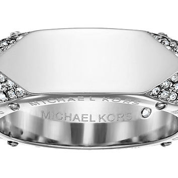 Michael Kors Brilliance Banded Ring with Logo and Pave Crystal