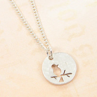 Bird Necklace -  Hammered Silver Circle Pendant Charm Tiny Bird on Branch Silhouette Simple Modern Jewelry with 18 Inch Silver Chain Jewelry