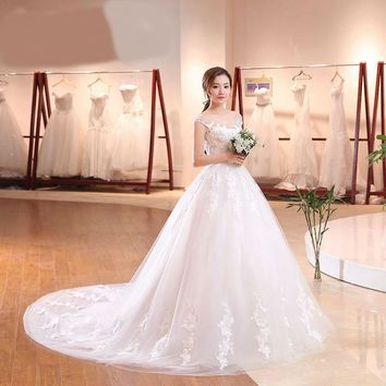 Long Train Cap Sleeve Embroidery Lace Wedding Dress Sweep Brush Train Princess bride Gown