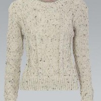 Cream and Grey Cropped Cable Knit Chunky Sweater