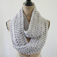 Ready To Ship Silver Gray Grey Handmade Chunky Infinity Scarf Cowl Neck Warmer