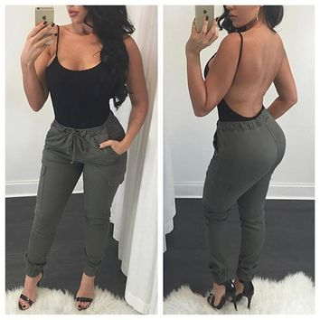 Summer Women's Fashion With Pocket Casual Pants [9266408396]