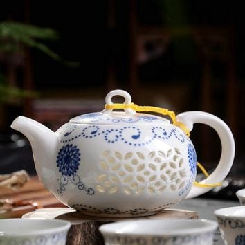 Blue and White Ceramic Porcelain Teapot Set