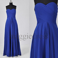 Custom Royal Blue Long Prom Dresses Simple Evening Dresses Cheap Party Dresses Bridesmaid Dresses 2014 Wedding Party Dress Formal Wear