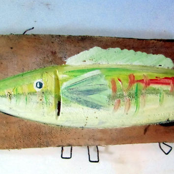 Yellow painting driftwood fish Sign Wooden Destressed Wall Art Beach Coastal Sign Outdoor And Indoor Beach Decor
