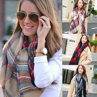 Fashion multicolor plaid shawl scarf