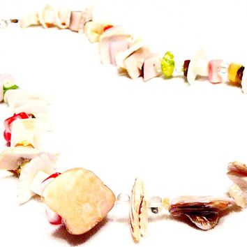 Natural Pink Shell necklace, Yemoja Necklace by Mystic Trinket Shop