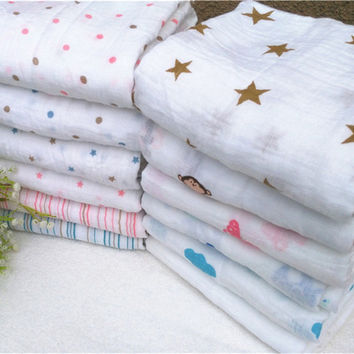 Aden Anais Muslin Baby Swaddling Blankets Newborn Infant 100% Cotton Swaddle Towel Famous Multifunctional 120x120cm 47*47''