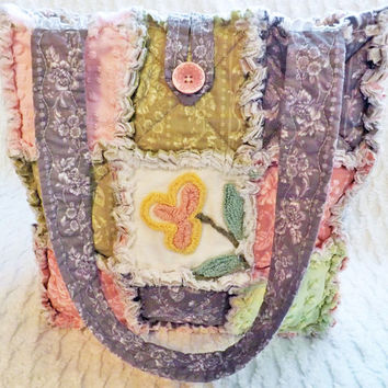 Rag Quilt Tote made with Vintage Chenille, Pink, Green, Gray, Soft Pastel, Handmade