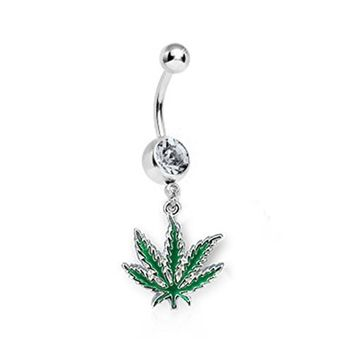 BodyJ4You Belly Ring Clear Gem CZ Weed Pot Leaf  Navel Dangle Bar 14G Retainer Piercing Jewelry