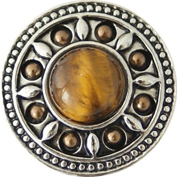 Chunk Snap Charm Tiger Eye Center with Brown Stones Border 20 mm