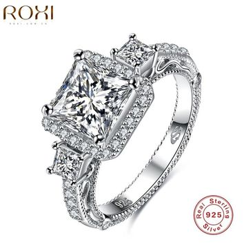 ROXI Engagement Rings Silver Charm For Women Gift Three Zircon 925 Sterling-silver-jewelry Silver Charm For Weeding anillos