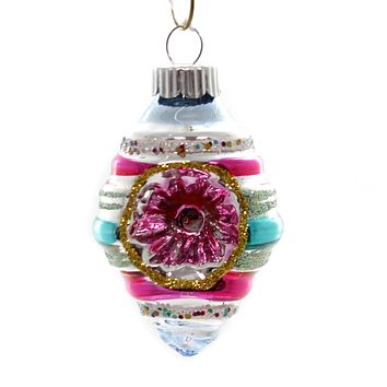 Shiny Brite VC DECORATED ROUNDS. Glass Ornament 4027633S Silver