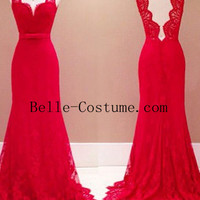 Mermaid V Neck Red Backless Prom Dresses, Red Backless Evening Dress, Red Lace Formal Dresses