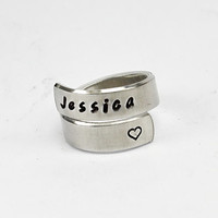 Personalized Name Ring, Name With Heart Ring, Girlfriend Sister Gift Jewelry, Hand Stamped Aluminum Adjustable Wrap Ring, Custom Made Ring