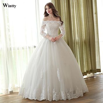 Wintty 2016 Luxury Princess plus sizes Bridal gowns Long Wedding Dresses vestidos de noiva robe de mariage off shoulder 2017