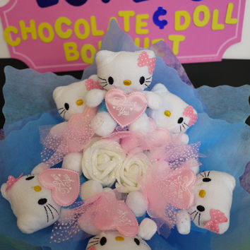 Hello! Cute Kitty Plush Doll Flower Bouquet! Unique & sweet birthday gift for her!