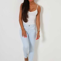 Promenade Blue Gingham Check Print Jeans | Pink Boutique