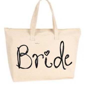 Bride Large Tote Bag with zipper closure - Bride to Be, Newlywed, Bridal, Wedding, Shower, Bachelorette Party Gift