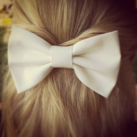 white BIG hair bow - hand made bow