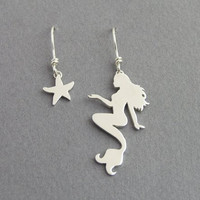 Mermaid and Starfish Earrings - Dangle Asymmetrical Earrings - Sterling Silver - Hand Cut - Nautical Jewelry