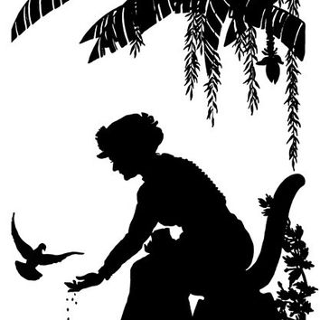 woman feeding birds sihouette png clip art Digital Image Download animal victorian printable art graphics