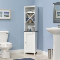 Bathroom Linen Tower With Open Shelving & Storage Cabinet In White