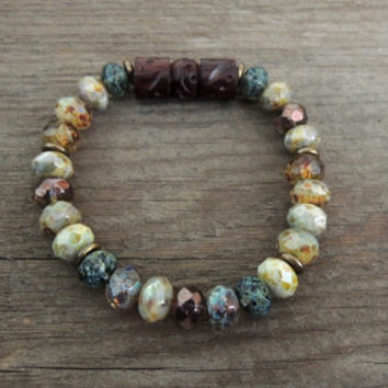 Sleeping Garden Beaded Bracelet Rustic Glass Carved Wood Stretch Bracelet Natural Earthy Colors Boho Style Gift for Her Fall Winter Color