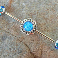 Glitter Blue Opal Industrial Barbell With Rhinestone Ends 14ga 316L Surgical Stainless Steel Ear Barbell