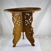 Wood Folding Table Plant Stand Made in India Bone Floral Inset Leaf Cutout Tri Legs Boho Bohemian Style