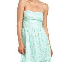 Fresh Mint Lace Tube Dress: Charlotte Russe