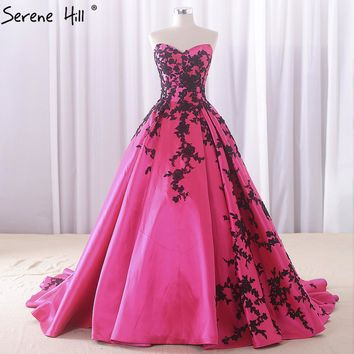 Long Train Wedding Dress Rose Red Color Appliques Taffeta Off The Shoulder Ball Gown Dress
