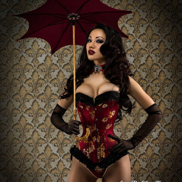 Deep Red Wine Silk Corset Custom Made Just for You