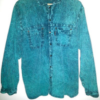 80s Vintage EZZE WEAR Button Up Long Sleeve SHIRT Acid Wash Color Green Size Mens Large Oversized Saved by the Bell
