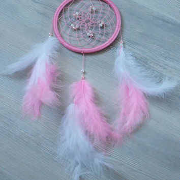 Pink Dream Catcher with Quartz gemstone, Baby Pink Dreamcatcher with Love Stone - Rose Quartz, Candy Pink Girly Dream Catcher, Wall hanging