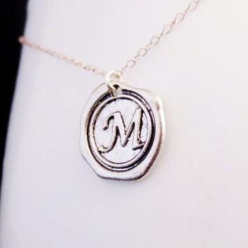 Silver Initial Necklace, Monogram Jewelry, Wax Stamp Seal Letter, Initial Medallion