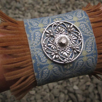 Western Leather Cuff Bracelet - Blue Bandana Print Upcycled with Tibetan Silver Filigree Charm