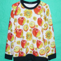 Apples Crewneck Jumper T shirt Teen Ladies Longsleeve Sunflower Sweatshirt T-Shirt Long Sleeve Colorful Women Shirt Tshirt Unisex Size M/L