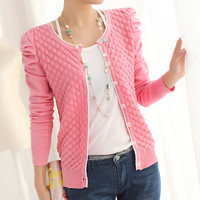 2016 Spring Women'S Cardigan O-Neck Puff Sleeve Pearl Buckle All-Match Solid Color Knitted Sweater Outerwear Jacket Cardigans