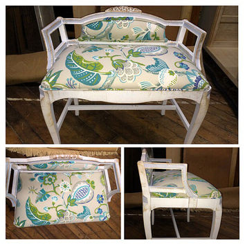 Vintage French vanity bench, solid wood repainted and upholstered