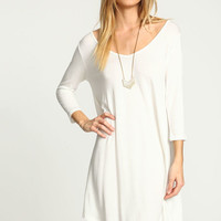 WHITE V NECK SWING KNIT DRESS