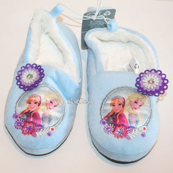 Licensed cool Disney Store Frozen Elsa Anna Girls SLIPPERS Plush House Shoes 7/8 9/10 11/12