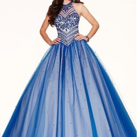 [152.99] Elegant Tulle Jewel Neckline Ball Gown Quinceanera Dresses With Embroidery & Beadings - dressilyme.com