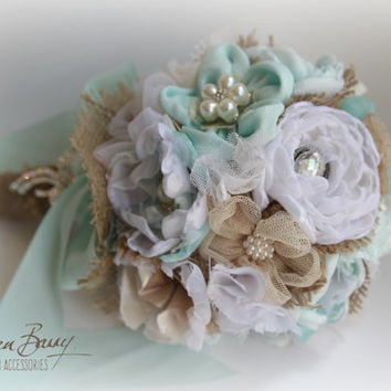 R2000 - Heirloom Wedding bouquet - Turquoise mint aqua white - chubby chic - vintage burlap hessian detailing - jeweled bridal bouquet